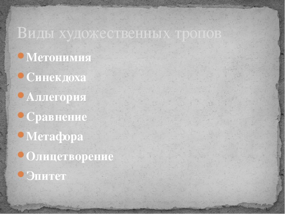 Метонимия Синекдоха Аллегория Сравнение Метафора Олицетворение Эпитет Виды ху...