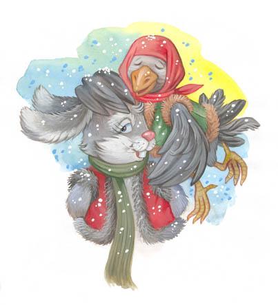 Заяц-хваста - иллюстрация к сказке. Художник Наталья Логванова.