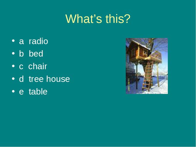 What's this? a radio b bed c chair d tree house e table