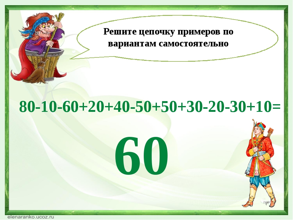 80-10-60+20+40-50+50+30-20-30+10= Решите цепочку примеров по вариантам самос...