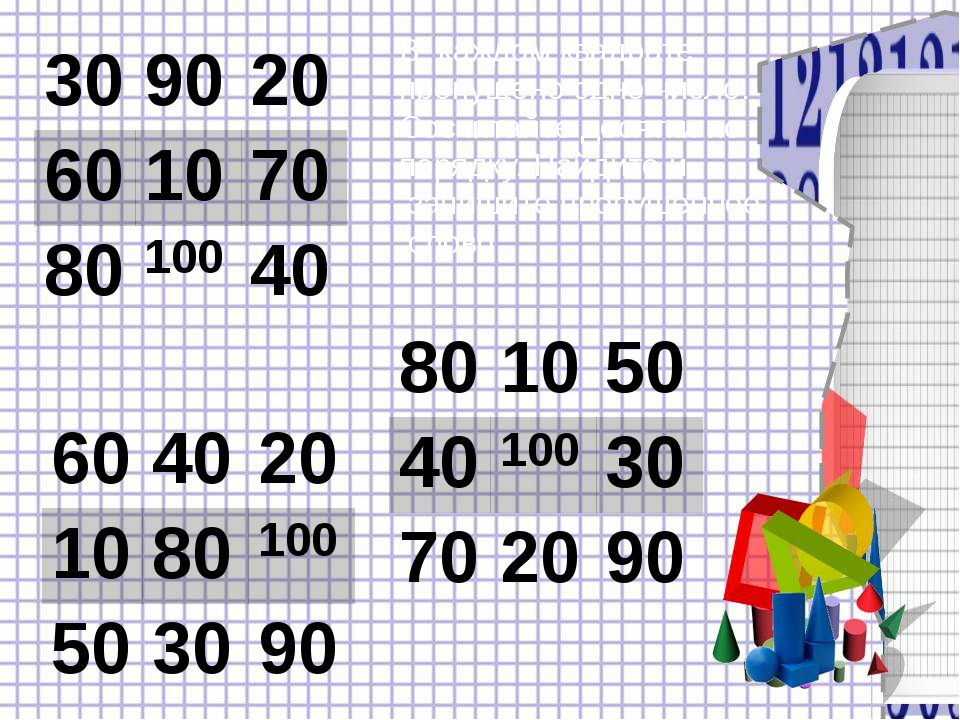 В каждом квадрате пропущено одно число. Сосчитайте десятки по порядку. Найдит...