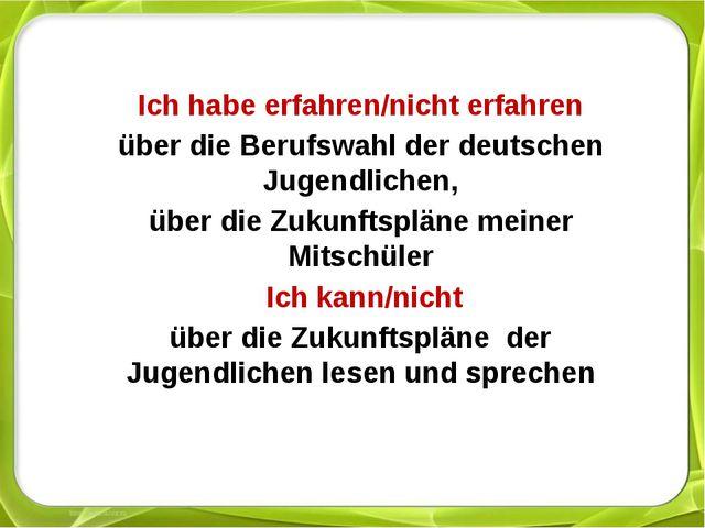 Ich habe erfahren/nicht erfahren über die Berufswahl der deutschen Jugendlic...