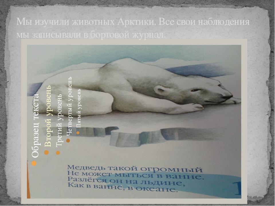 Мы изучили животных Арктики. Все свои наблюдения мы записывали в бортовой жур...