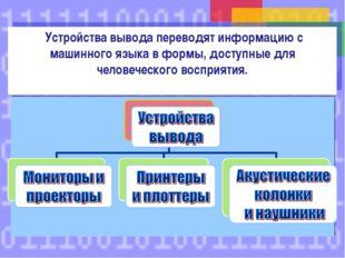 Устройства вывода переводят информацию с машинного языка в формы, доступные