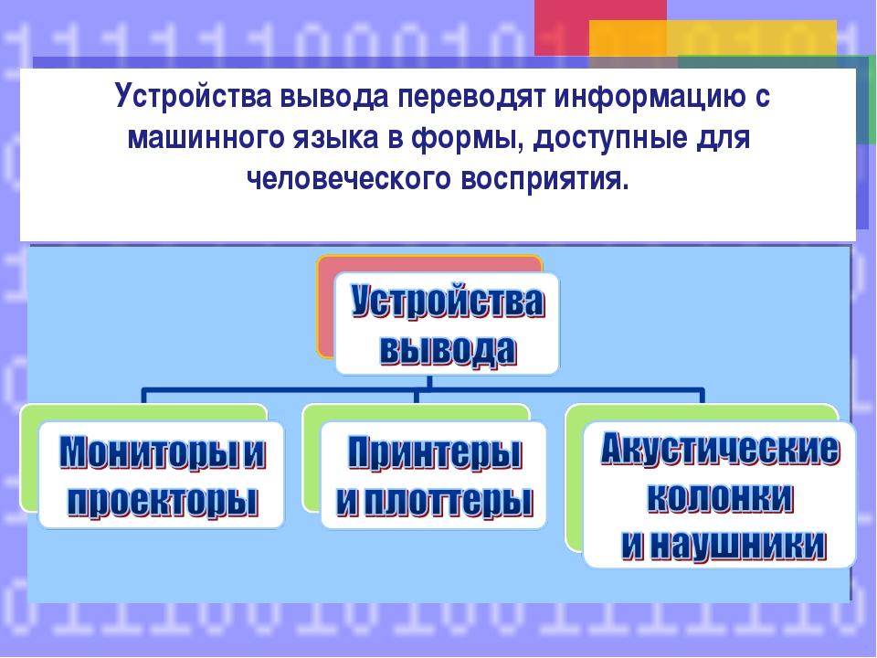 Устройства вывода переводят информацию с машинного языка в формы, доступные...