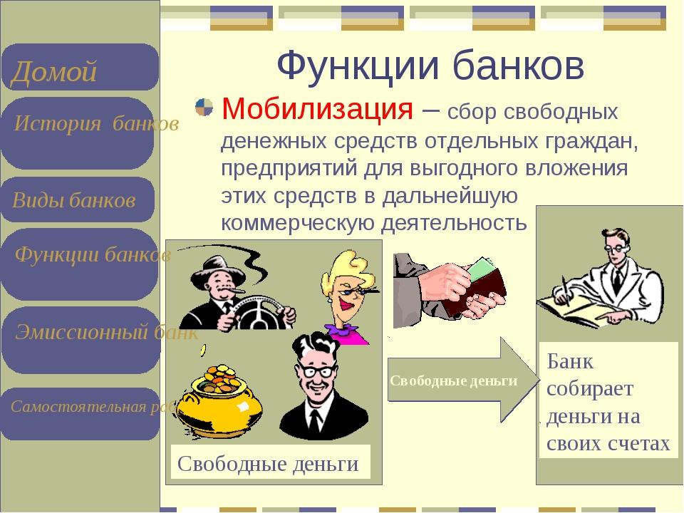 Функции банков Мобилизация – сбор свободных денежных средств отдельных гражда...
