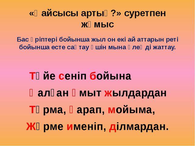 «Қайсысы артық?» суретпен жұмыс Бас әріптері бойынша жыл он екі ай аттарын ре...