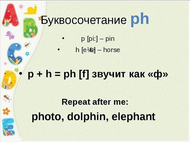 Буквосочетание ph p [pi:] – pin h [eɪtʃ] – horse p + h = ph [f] звучит как «ф...