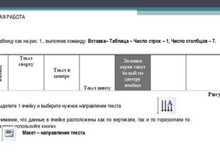 ПРАКТИЧЕСКАЯ РАБОТА Создадим таблицу как на рис. 1., выполнив команду:Вставк