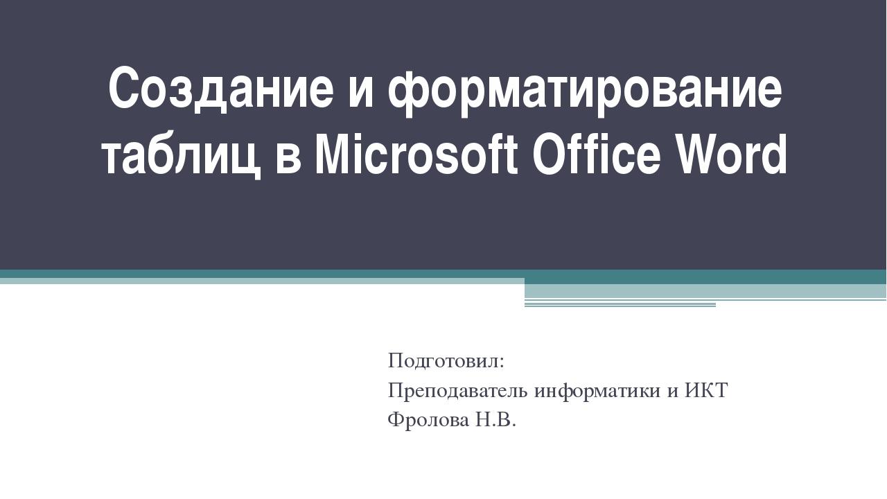 Создание и форматирование таблиц в Microsoft Office Word Подготовил: Преподав...
