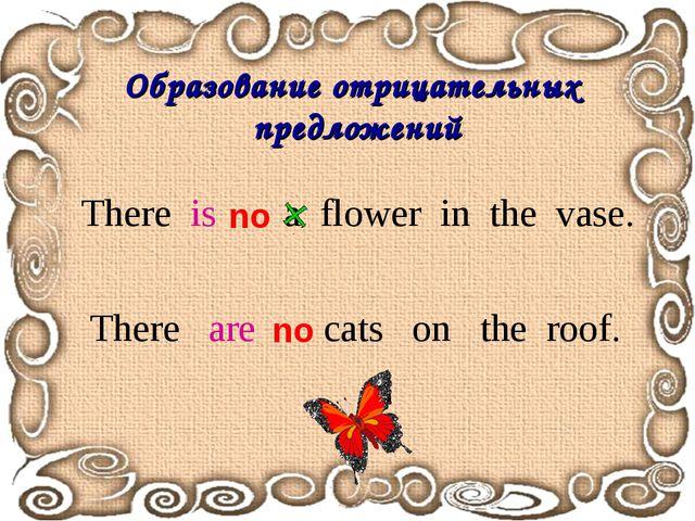 Образование отрицательных предложений There is a flower in the vase. no There...