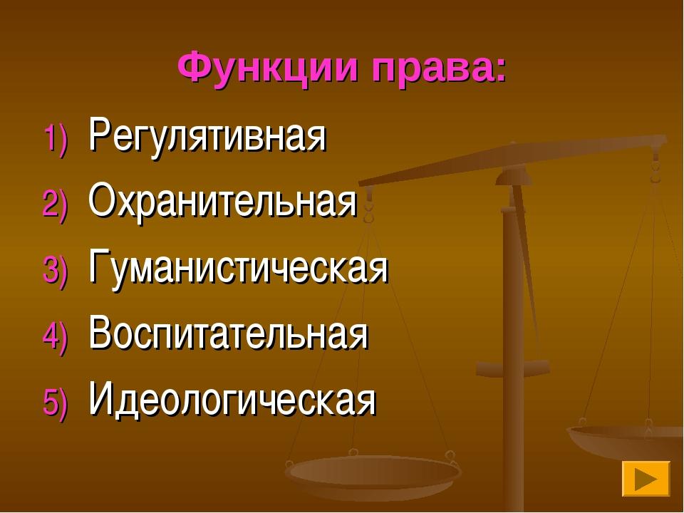 Функции права: Регулятивная Охранительная Гуманистическая Воспитательная Идео...