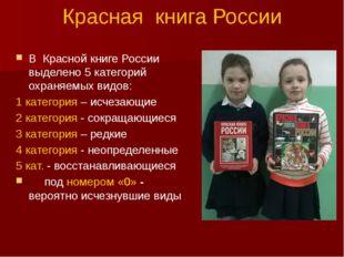 Красная книга России В Красной книге России выделено 5 категорий охраняемых в