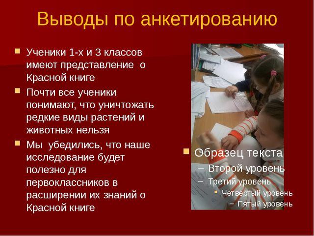Выводы по анкетированию Ученики 1-х и 3 классов имеют представление о Красной...