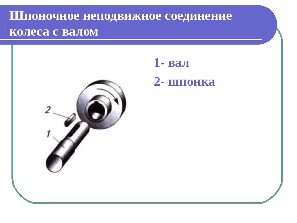 Шпоночное неподвижное соединение колеса с валом 1- вал 2- шпонка
