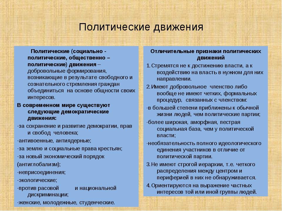 Политические движения Политические (социально - политические, общественно – п...