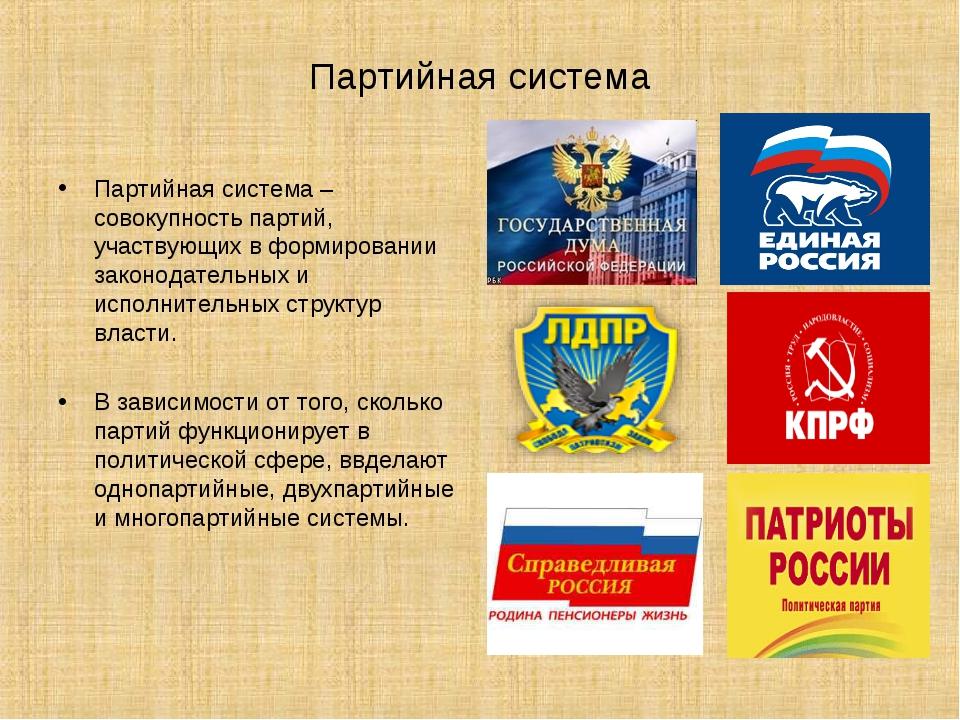 Партийная система Партийная система – совокупность партий, участвующих в форм...
