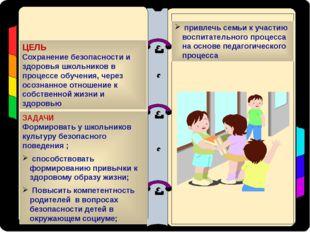 ЦЕЛЬ Сохранение безопасности и здоровья школьников в процессе обучения, через