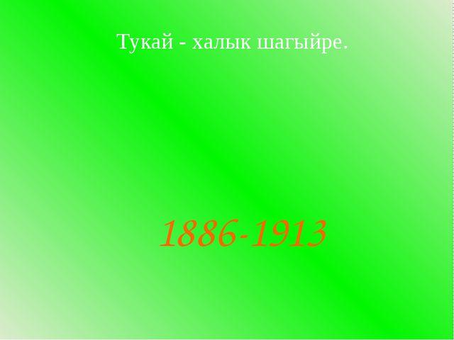 Тукай - халык шагыйре. 1886-1913