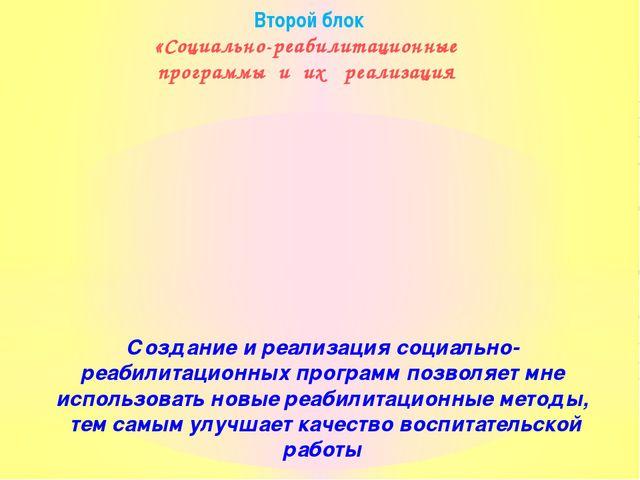 Второй блок «Социально-реабилитационные программы и их реализация Создание и...