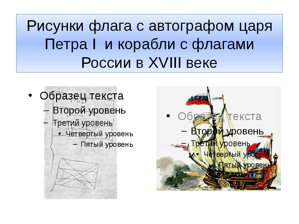 Рисунки флага с автографом царя Петра I и корабли с флагами России в XVIII веке