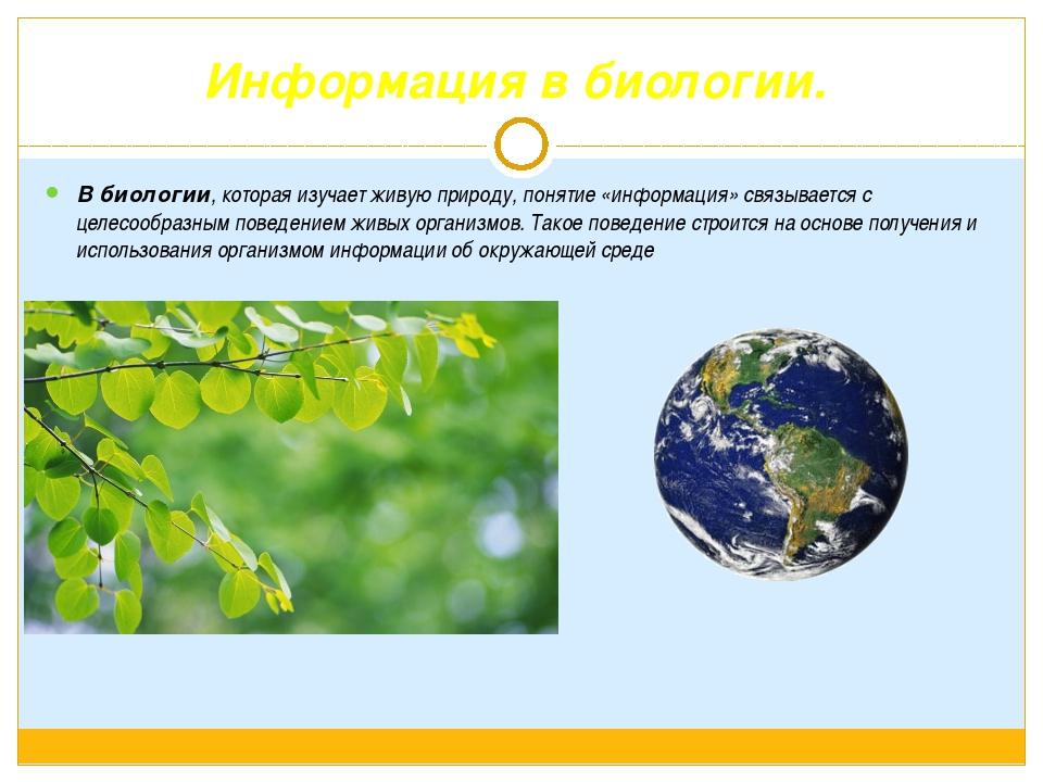 Информация в биологии. В биологии, которая изучает живую природу, понятие «ин...