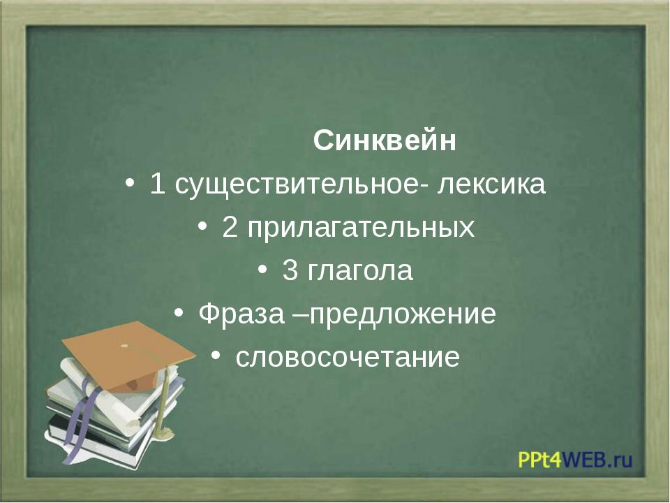 Синквейн 1 существительное- лексика 2 прилагательных 3 глагола Фраза –предло...