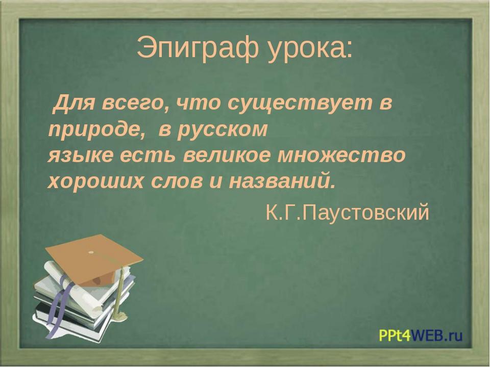 Эпиграф урока: Для всего, что существует в природе, в русском языкеестьвели...