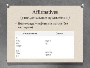 Affirmatives (утвердительные предложения) Подлежащее + инфинитив глагола (без