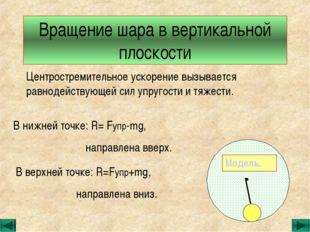 Вращение шара в вертикальной плоскости Центростремительное ускорение вызывает