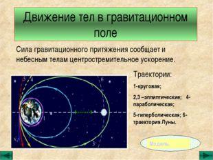 Движение тел в гравитационном поле Сила гравитационного притяжения сообщает и