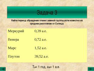 Задача 3 Найти период обращения планет земной группы,если известно их среднее