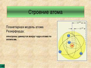Строение атома Планетарная модель атома Резерфорда: электроны движутся вокруг