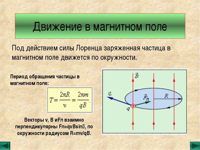 Движение в магнитном поле Под действием силы Лоренца заряженная частица в маг...