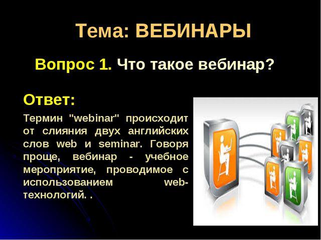 """Тема: ВЕБИНАРЫ Вопрос 1. Что такое вебинар? Ответ: Термин """"webinar"""" происходи..."""