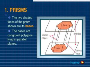 1. PRISMS The two shaded faces of the prism shown are its bases. The bases ar