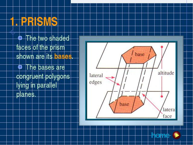 1. PRISMS The two shaded faces of the prism shown are its bases. The bases ar...