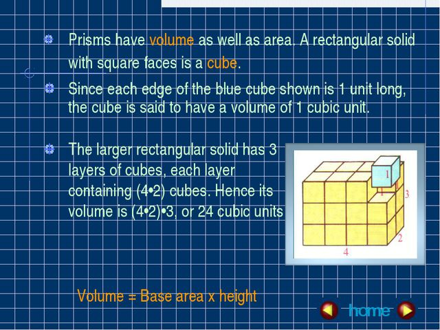 Prisms have volume as well as area. A rectangular solid with square faces is...