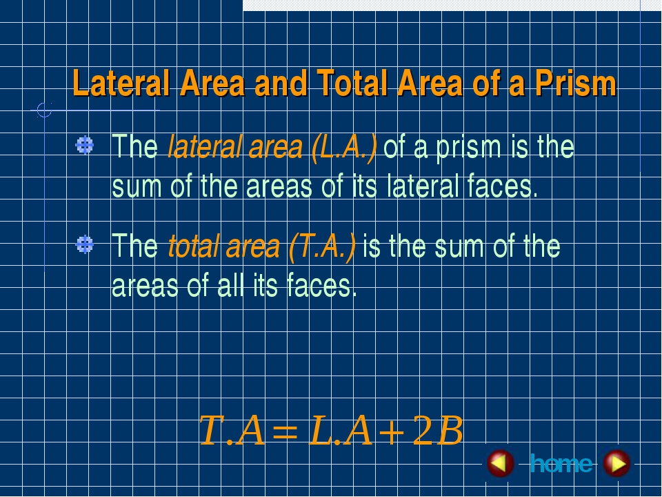 Lateral Area and Total Area of a Prism The lateral area (L.A.) of a prism is...