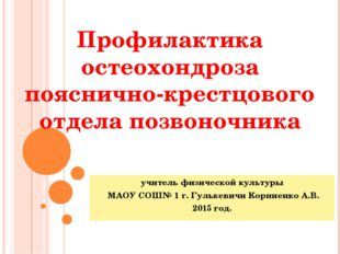 учитель физической культуры МАОУ СОШ№ 1 г. Гулькевичи Корниенко А.В. 2015 год