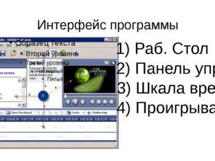 Интерфейс программы 1) Раб. Стол 2) Панель управ. 3) Шкала времени 4) Проигры