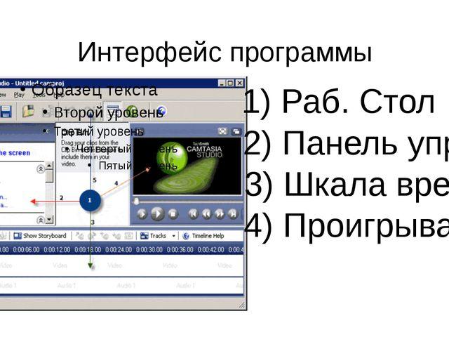 Интерфейс программы 1) Раб. Стол 2) Панель управ. 3) Шкала времени 4) Проигры...
