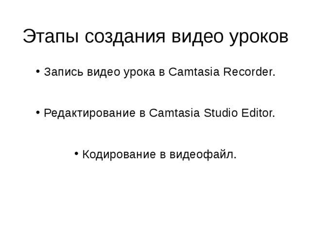 Этапы создания видео уроков Запись видео урока в Camtasia Recorder. Редактиро...