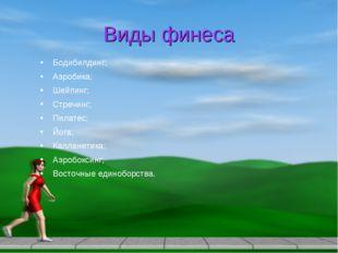 Виды финеса Бодибилдинг; Аэробика; Шейпинг; Стречинг; Пилатес; Йога; Калланет