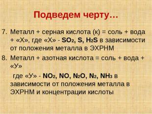 Подведем черту… Металл + серная кислота (к) = соль + вода + «Х», где «Х» - SO
