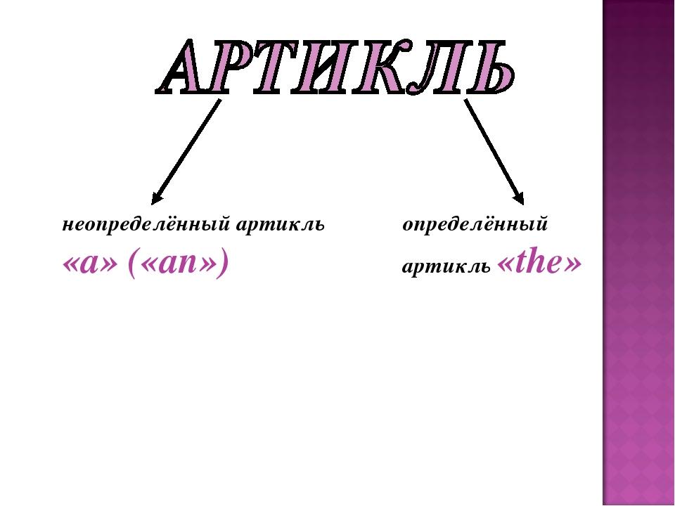 неопределённый артикль «a» («an») определённый артикль «the»