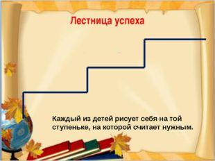 Лестница успеха Каждый из детей рисует себя на той ступеньке, на которой счит