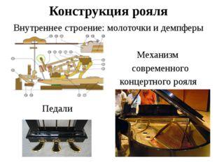 Конструкция рояля Внутреннее строение: молоточки и демпферы Механизм современ