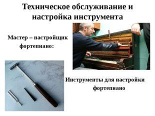 Техническое обслуживание и настройка инструмента Мастер – настройщик фортепиа