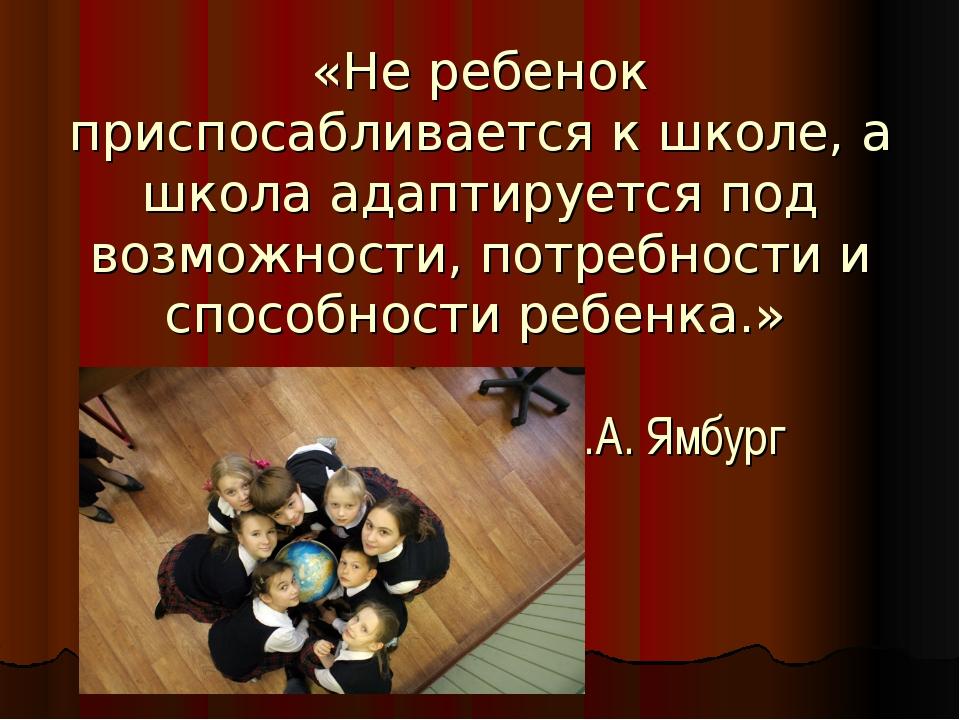 «Не ребенок приспосабливается к школе, а школа адаптируется под возможности,...